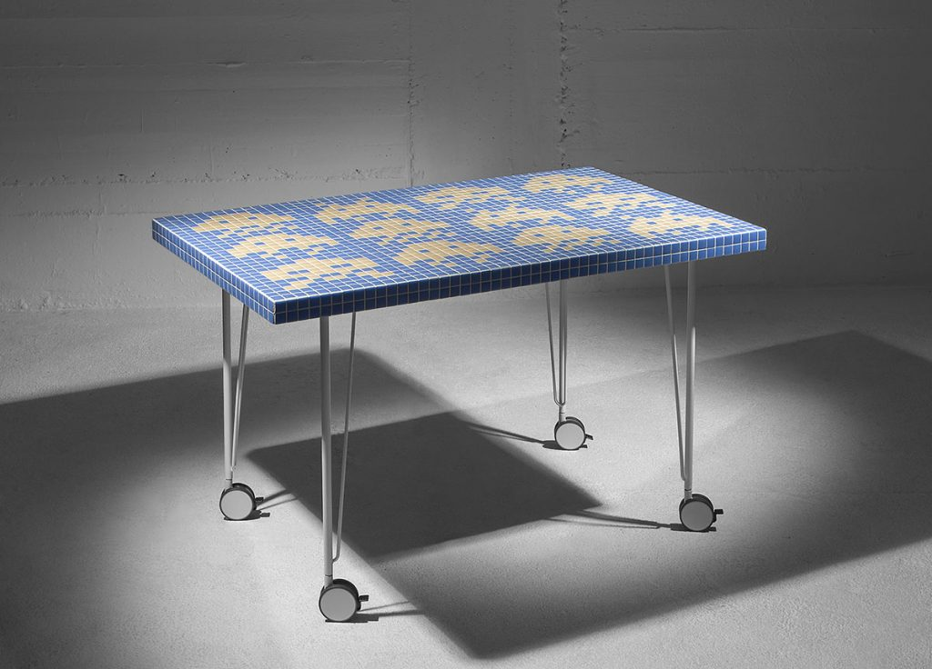 Space invaders blue table